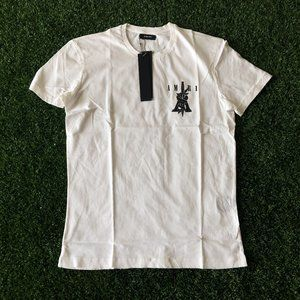 "AMIRI White Black Logo Printed White T-Shirt ""L"""